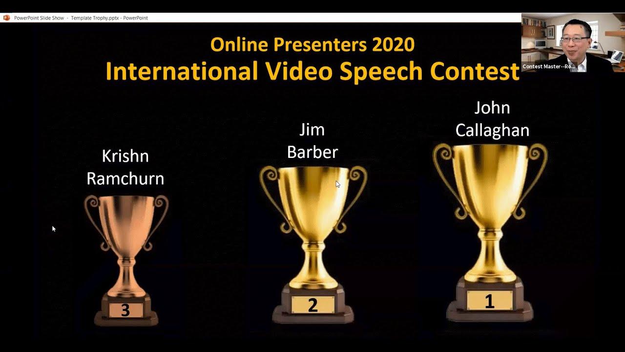 Video Speech Contest 2020: Congratulations, John Callaghan